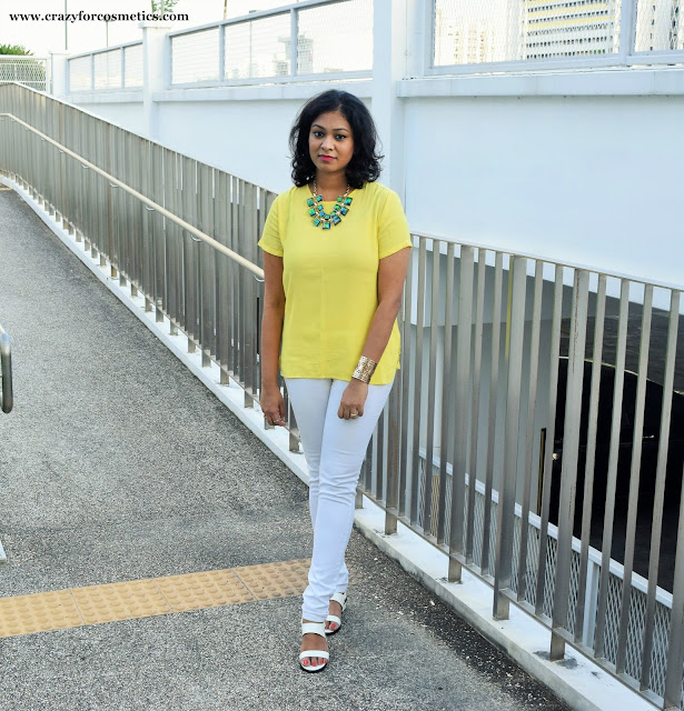 Styling bright yellow top for summers