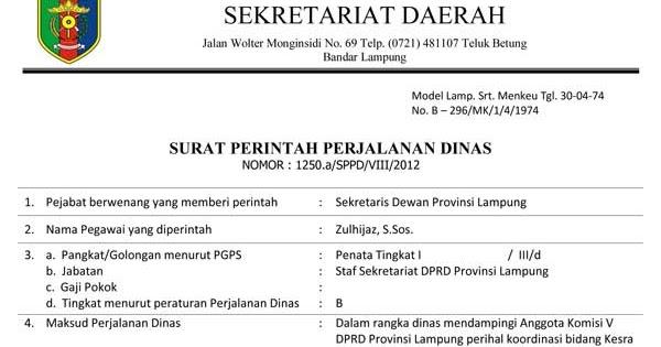 contoh surat tugas dinas perusahaan pendidikan
