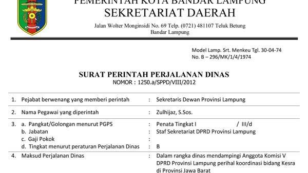 Contoh Surat Tugas Dinas Perusahaan Pendidikan Organisasi