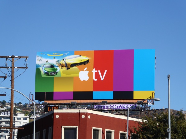 Apple TV video game racing cars billboard