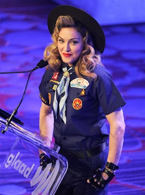 Madonna dresses up as a Boy Scout and stands up for gay rights