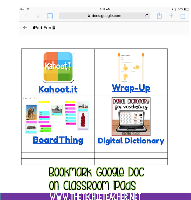 Bookmark a Google Doc on your classroom iPads for students to QUICKLY access websites, Google Forms, Google Slides and other webtools.
