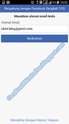 form mengisi alamat email untuk mendaftar facebook