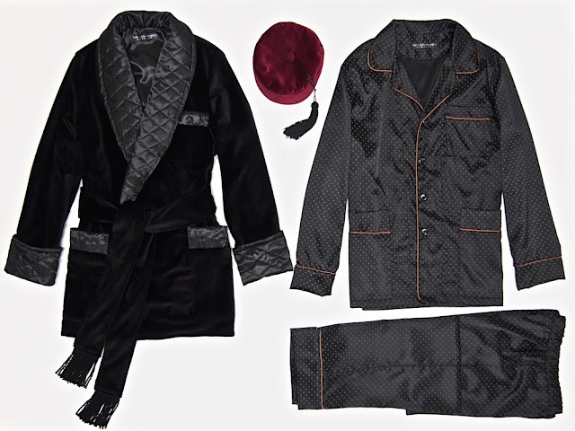 Mens smoking jacket robe black velvet quilted silk dressing gown