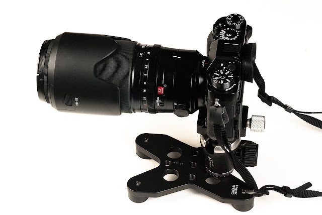 Hejnar Photo Table-Pod TP002 with ball head peripherally mounted loaded w/long lens