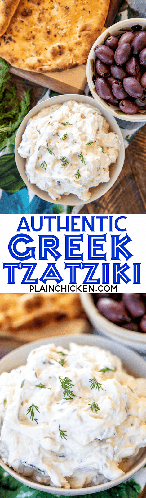 Authentic Greek Tzatziki - recipe from a Greek restaurant in Poros, Greece! SO simple and it tastes amazing! Goes great with lamb, pork, meatballs, gyros, chicken and bread. Greek yogurt, garlic, salt, pepper, cucumber and olive oil. Can make in advance and refrigerate 5 to 7 days. Great for a quick snack or parties! #greek #tzatziki #greekyogurt #dip