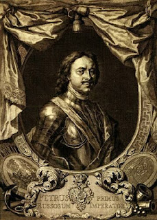 Portrait of Emperor Peter the Great in breast armor. Engraving by Jacobus Houbraken (1698-1780), 18th century engraving depicting Peter the Great was made after a portrait by Carel de Moor 1718.