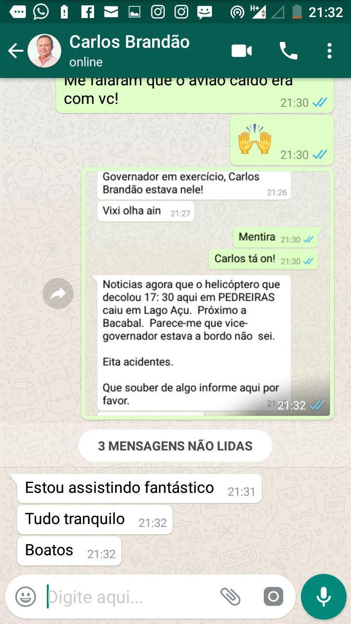 Carlos Brandão desmente estar em avião que caiu em Lago Açu