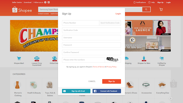 Sign-up as Shopee seller via desktop