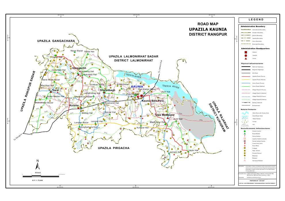 Kaunia Upazila Road Map Rangpur District Bangladesh