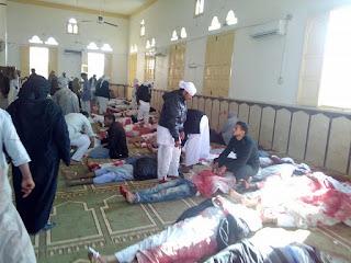 انباء عن تفجير الارهابيين لمسجد قرية الروضه بشمال سيناء