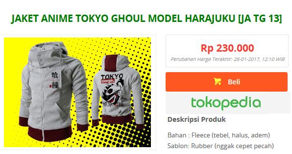 Jual jaket anime tokyo ghoul keren