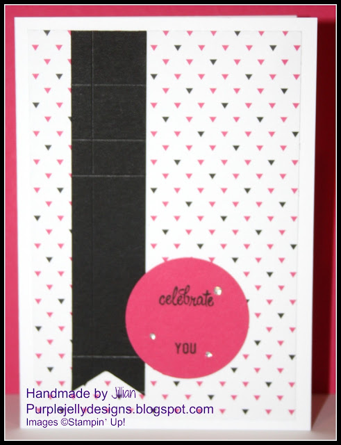 Stampin' Up!, challenge, pop of pink, triple banner punch, melon mambo