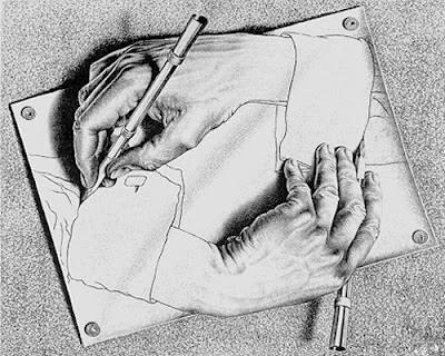 Birbirini çizen eller gösteren kara kalem çizim
