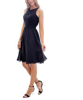 Simple Short Navy Sleeveless Chiffon Crew Neck Bridesmaid Dress