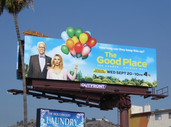Good Place season 2 balloons billboard