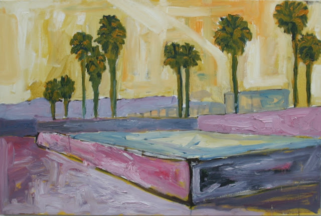 Karina De Beers painting of the legendary Dogtown skate area on the Venice Beach Oceanfront like it was in the 1970's & early 1980's.