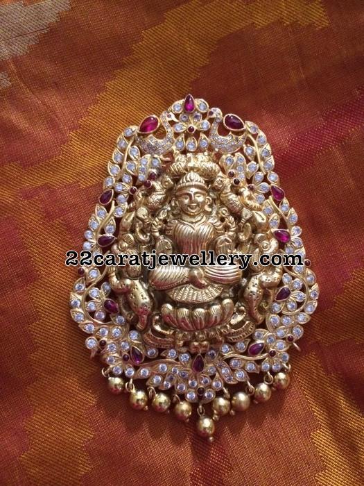 Silver Lakshmi Pendant with CZ stones