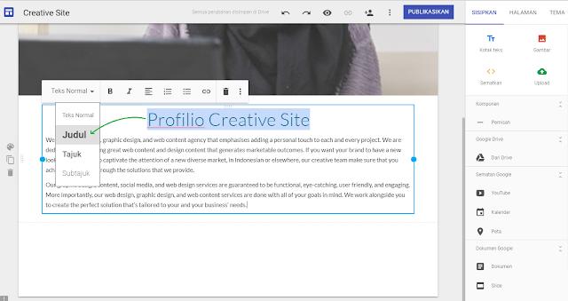 Cara membuat post atau artikel situs web di google sites - gambar 2