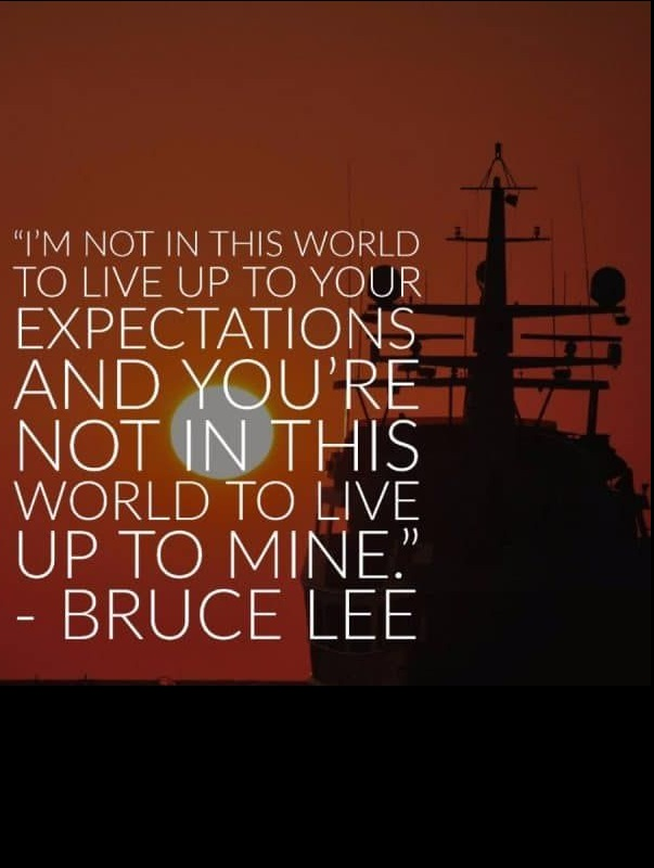 I'm not in this world to live up to your expectations and you're not in this world to live up to mine. ~ Bruce Lee #quotes #motivational #inspirational #life
