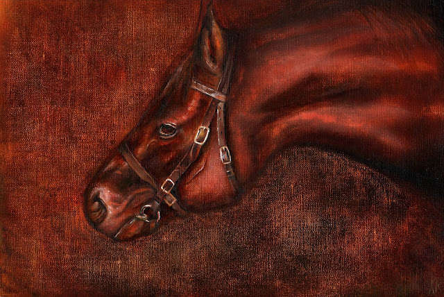 oil painting of a chestnut horse