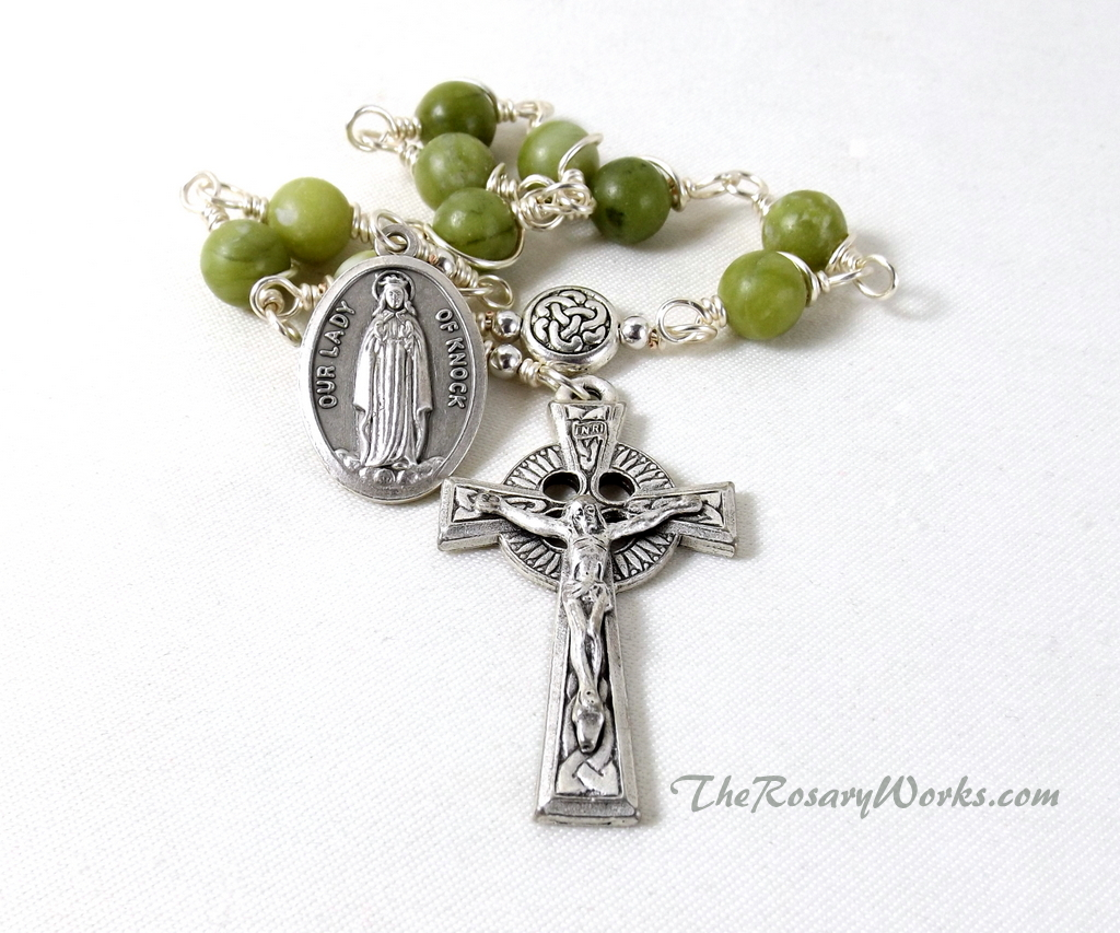 Celtic Gemstone Rosary Green Celtic Crucifix Irish Men