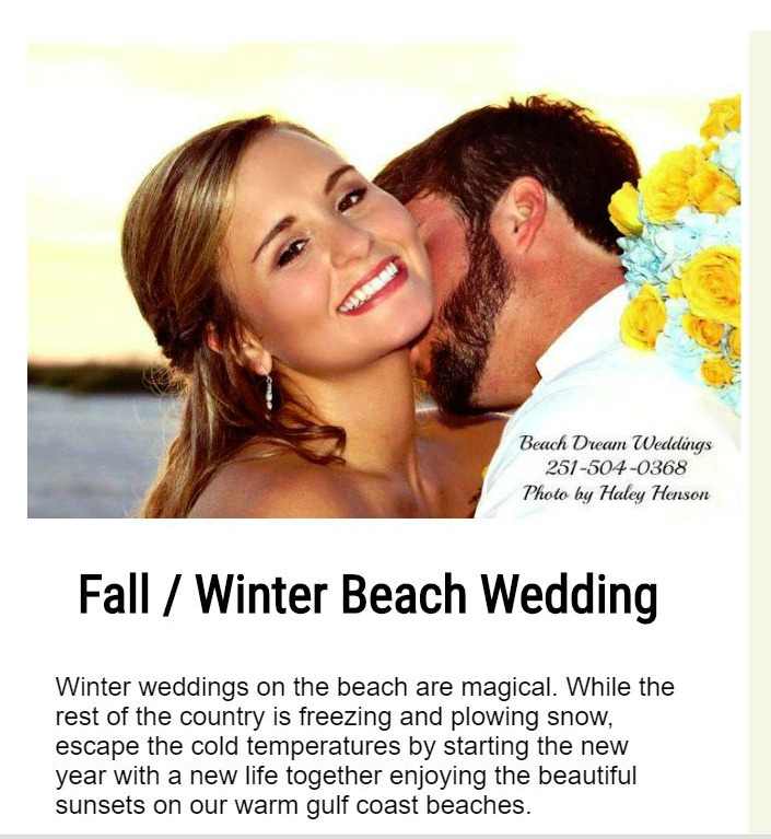 Fall And Winter Beach Wedding Specials Dream Weddings Gulf Coast Call 251 504 0368