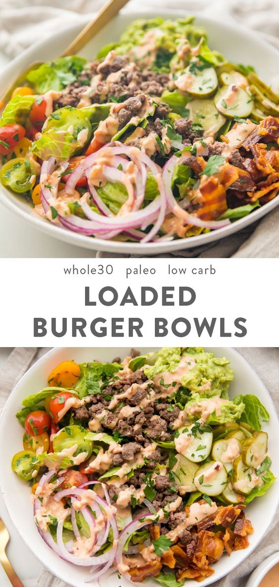 "Loaded Burger Bowls with ""Special Sauce"" (Whole30, Paleo, Low Carb)"