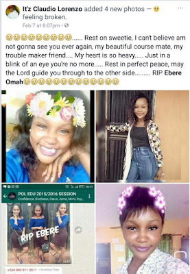 Photos: Pretty 300L student of Ambrose Ali University Ekpoma, one other killed in auto crash inside the campus