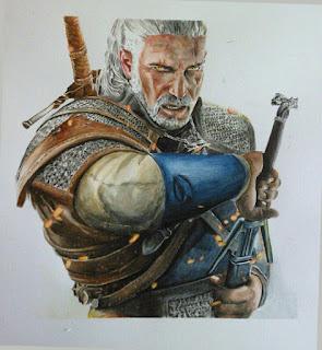 Pintura en acuarela de un personaje de videojuego the witcher 3