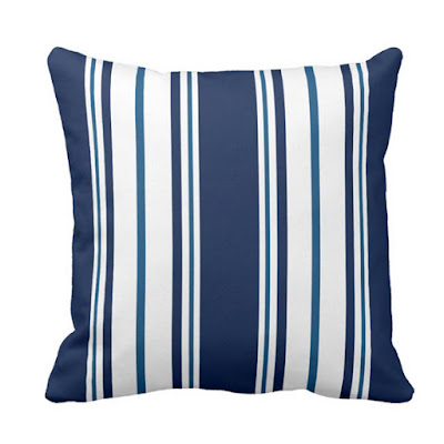 Blue and White Striped Nautical Pillow