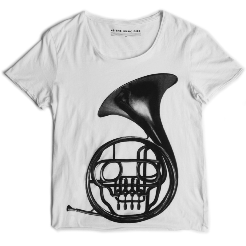As the Music Dies, French horn white T-shirt