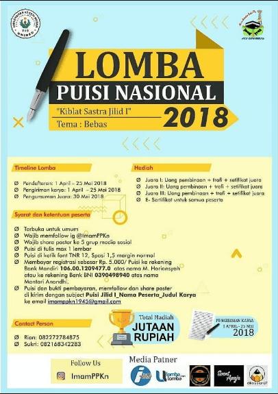 Lomba Puisi Nasional Pelajar & Mahasiswa UNIMED 2018