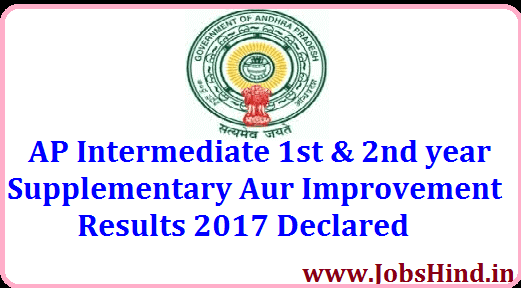 AP Intermediate 1st & 2nd year Supplementary Results 2017 Check kare Inter Result 2017         |          Jobs Hind
