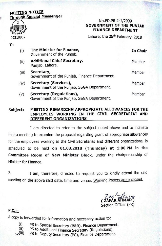 APPROPRIATE ALLOWANCES FOR THE EMPLOYEES WORKING IN THE CIVIL SECRETARIAT AND DIFFERENT ORGANIZATIONS