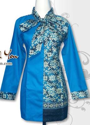 Model Baju Batik Wanita Kombinasi 2 Motif