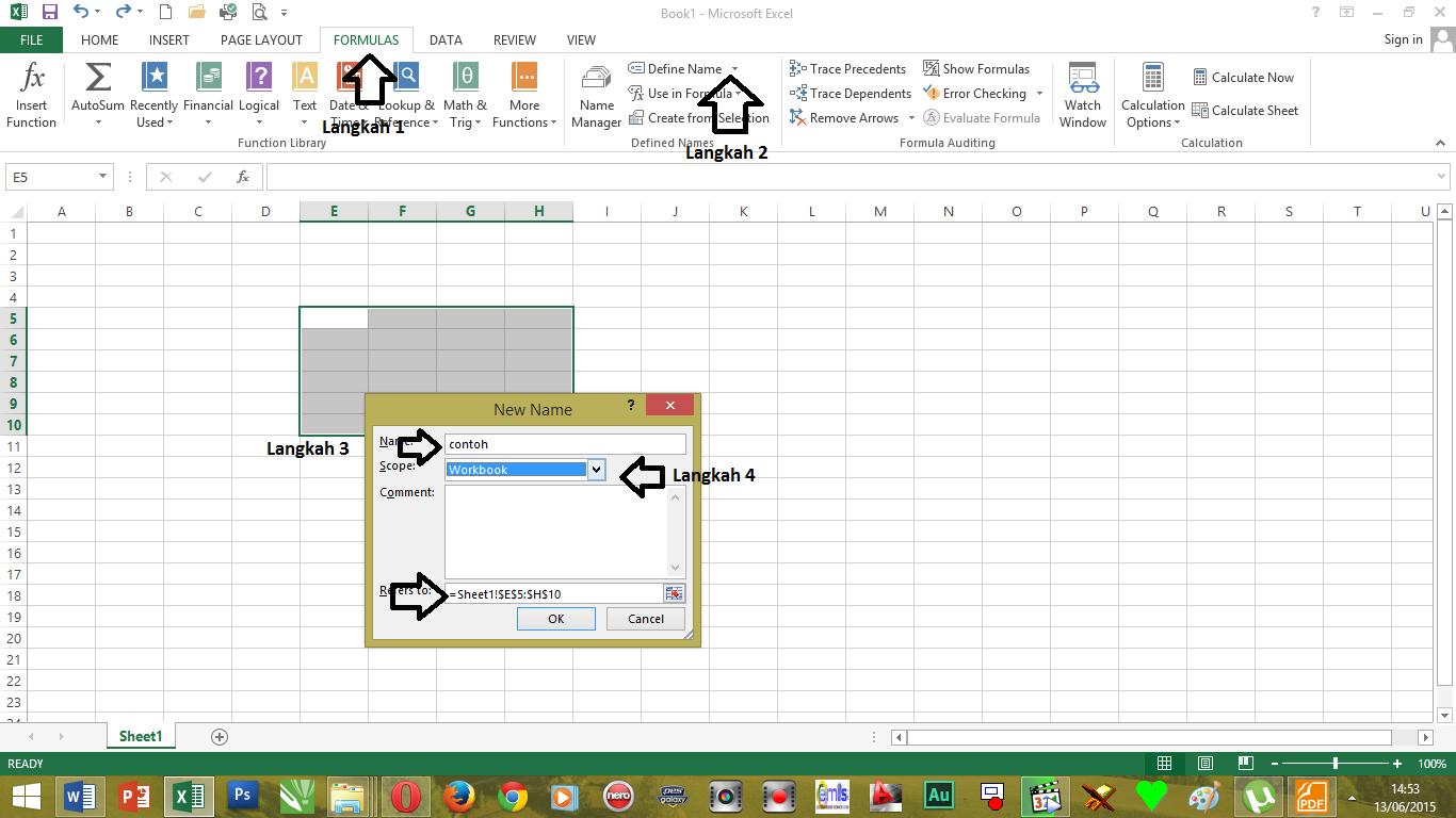Cara Menamai Cell Atau Range Excel