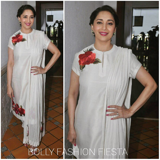 @madhuridixitnene in @rohitbal_ at the press meet for jug nee , indo-contemporary dance festival in mumbai. styled by @stylebyami.   madhuri dixit , rohit bal , bollywood , style , fashion , glam , gor g , elegant , love , bolly fashion fiesta ,, Hot Pics of Madhuri Dixit At  Launch OF Contemporary Dance Festival 'Jugnee'