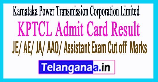 KPTCL Admit Card Result  AAO/AE/JE/JA Cutoff Marks