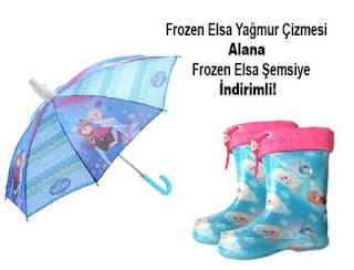 Frozen Elsa Yağmur Çizmesi ve Şemsiyesi