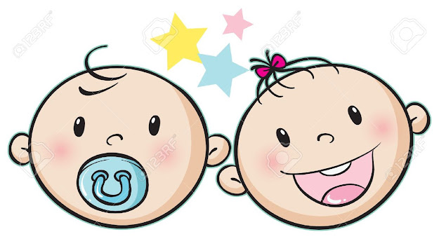 Vector  Illustration Of Baby Faces On White Background