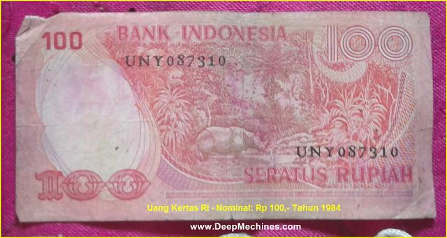 Gambar bagian Belakang Uang Kertas RI - Rp 100,- Tahun 1977