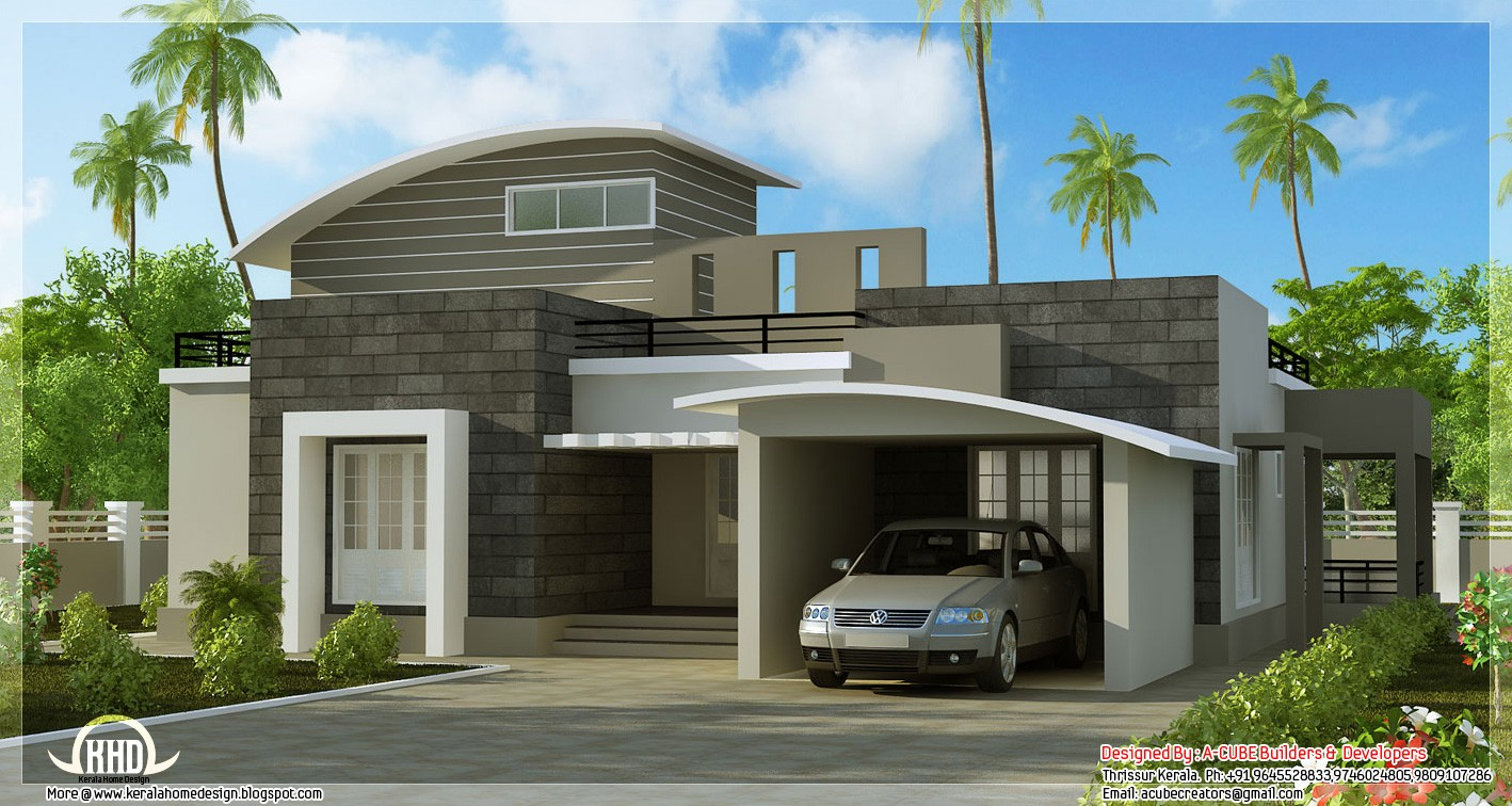 Beautiful 2 bedroom contemporary villa kerala home for Beautiful 5 bedroom house plans with pictures