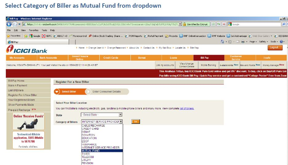 how to buy mutual funds online icici