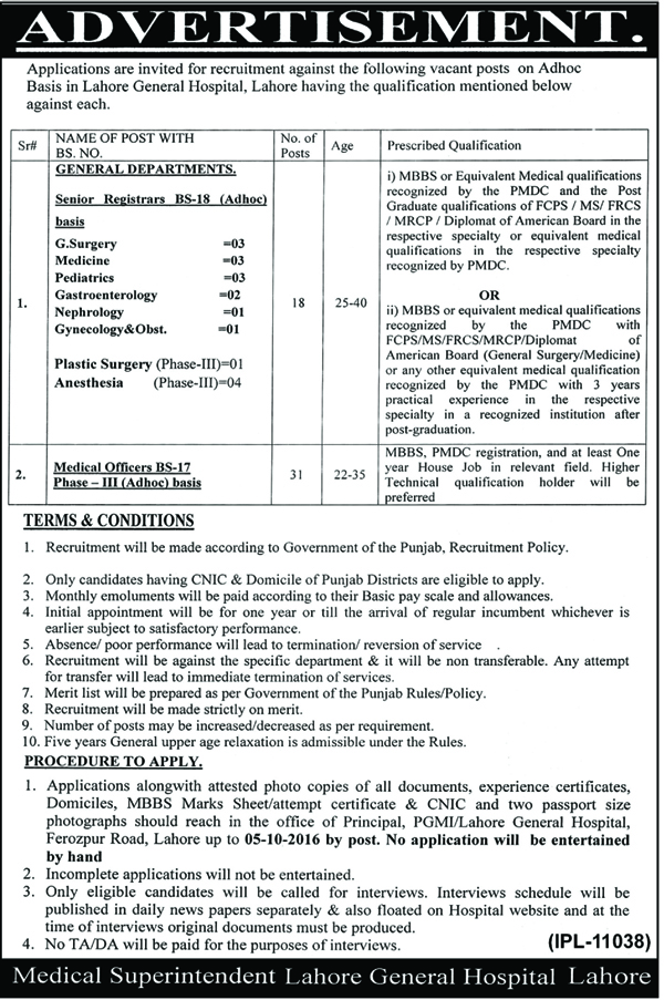 Doctors jobs in Lahore General Hospital Jobs