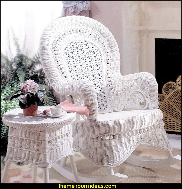 Country White Rocking Chair   Victorian Decorating ideas - Vintage decorating - Victorian Boudoir - Romantic Victorian Bedroom Decor - lace and ruffles bedding - floral bedding - victorian bedroom photos - Vintage decor - vintage themed bedroom for a girl