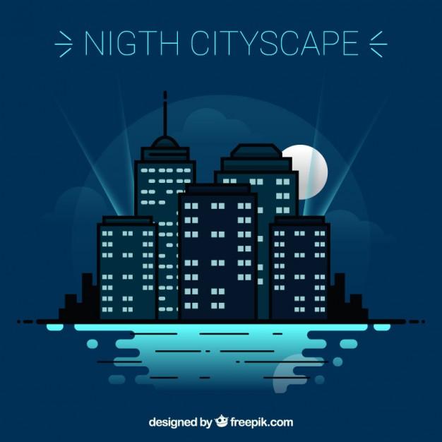 Nigth Cityscape Design - Free Vector