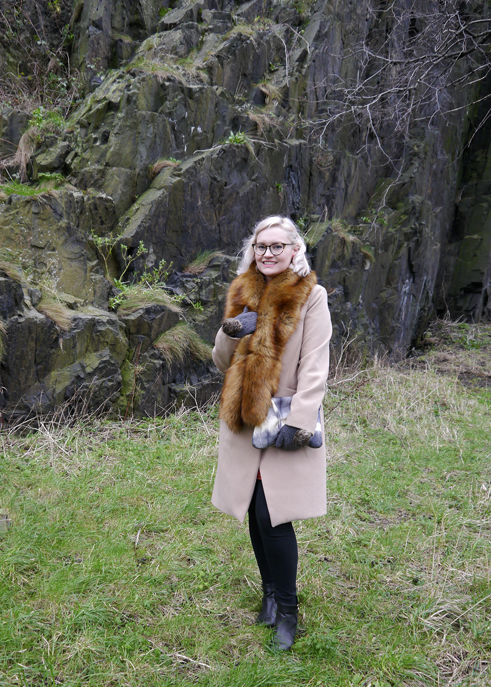 Camel coat and oversized faux fur stole as worn by fashion blogger Kimberley Grahame from Wardrobe Conversations Scotland