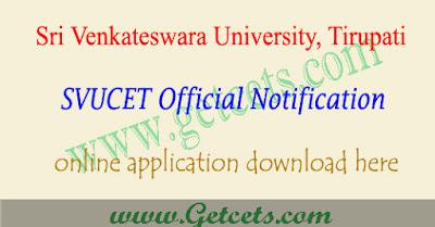 SVUCET notification 2020 - 2021 svu pgcet application form