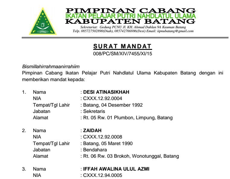 Contoh Surat Mandat Pramuka Penegak Archives Suratmenyuratnet